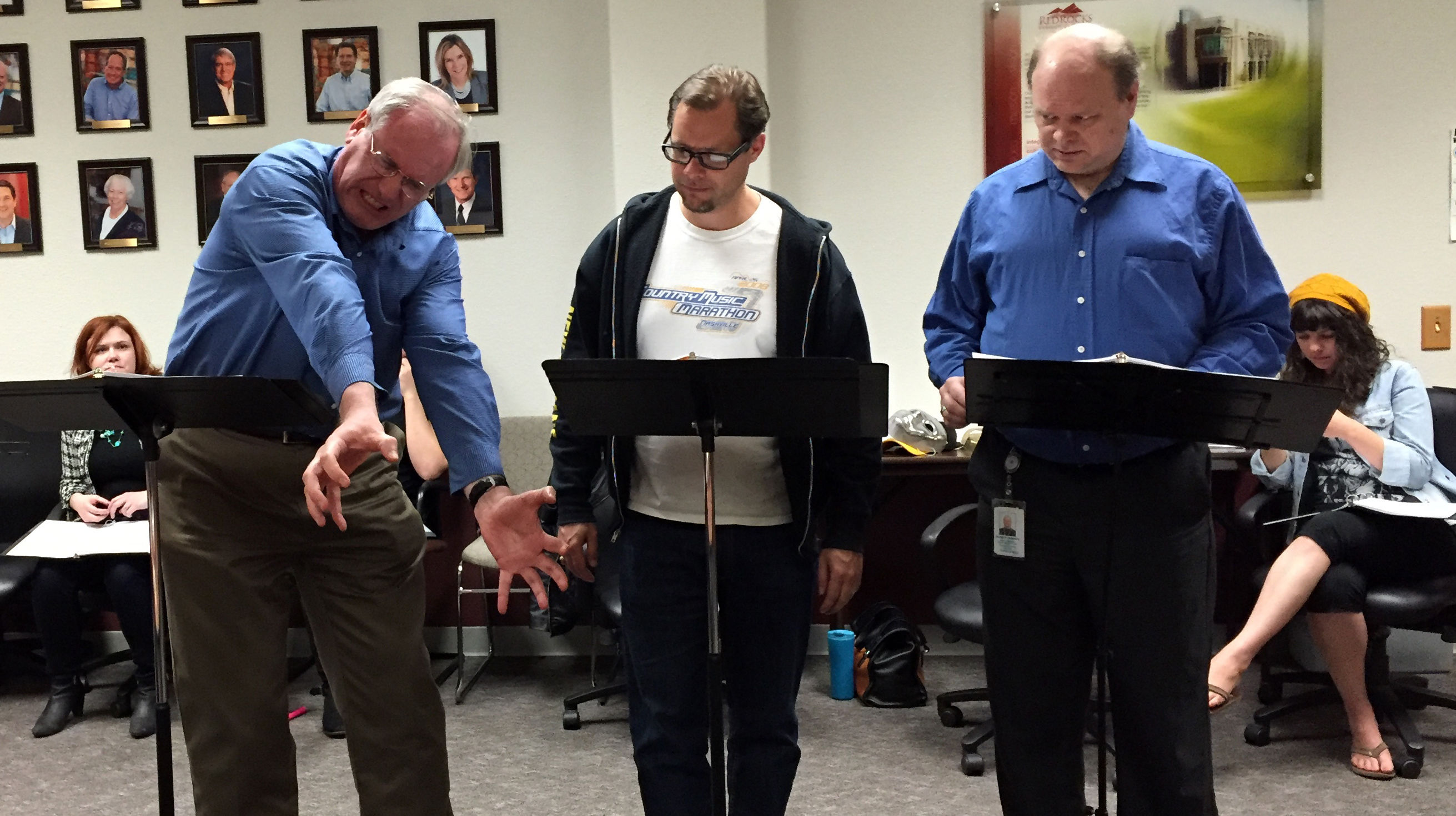 One Night Stand Theatre rehearsing for the staged reading of Shakespeare's Curse