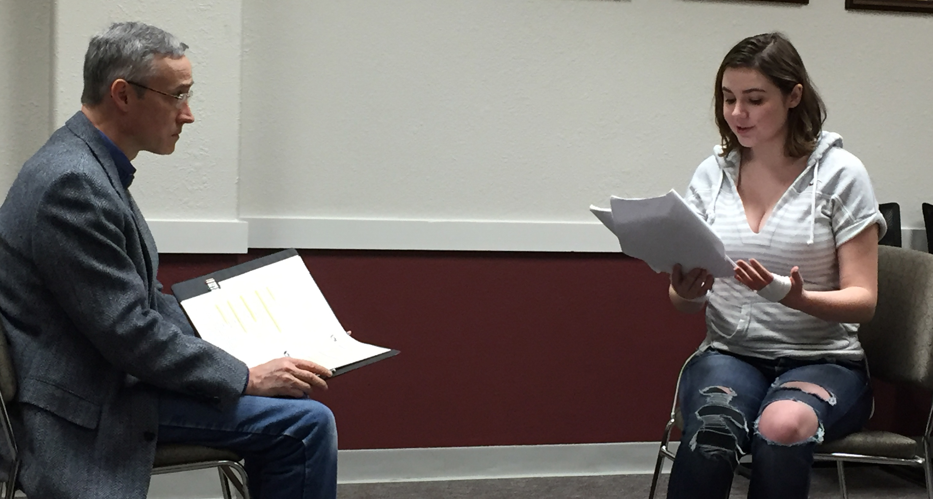 One Night Stand Theatre rehearsing for the staged reading of Singularity